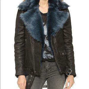 ⚡️SALE⚡️BLK DENIM Leather Moto Jacket/ Fur Collar